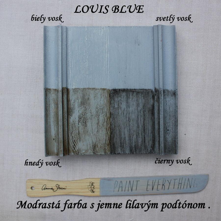 Vzorka zavoskovanej kriedovej farby Annie Sloan louis blue.