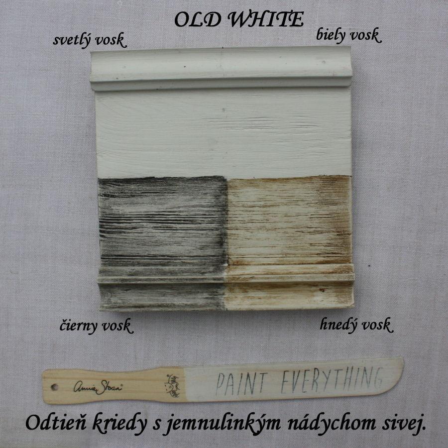 Zavoskovaná vzorka kriedovej farby old white.