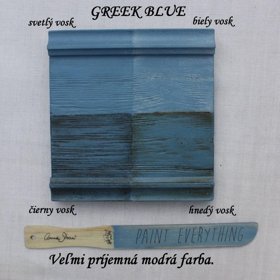 Vzorka zavoskovanej kriedovej farby Annie Sloan grek blue.