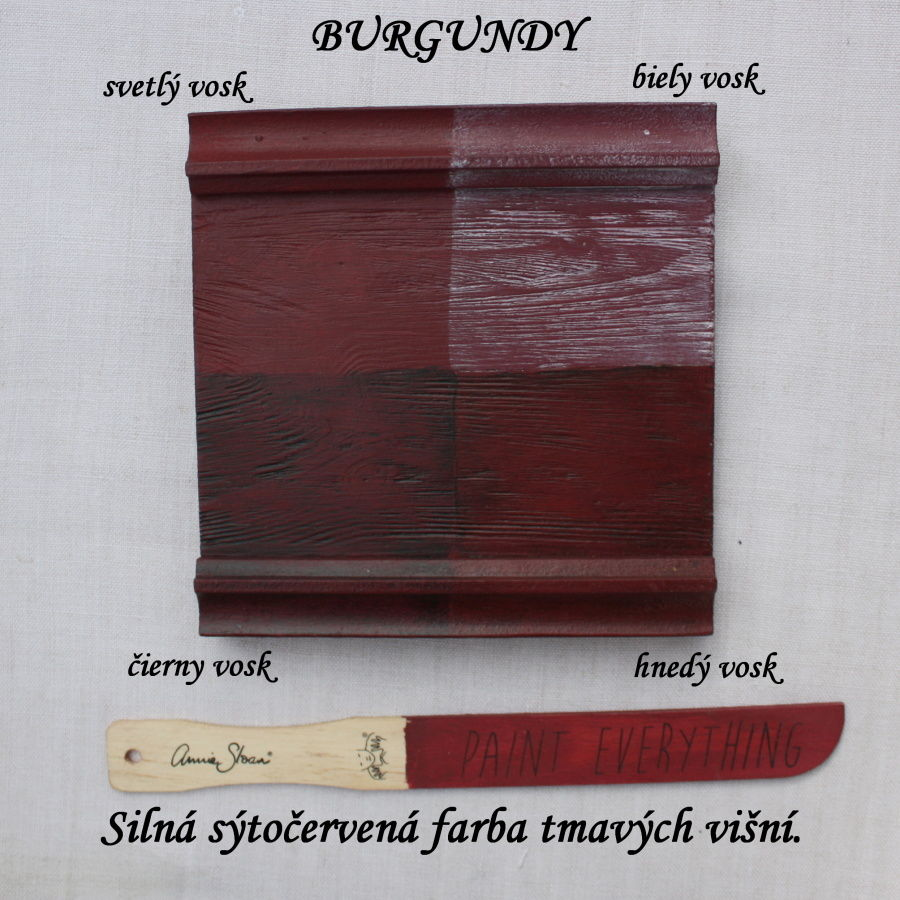 Vzorka zavoskovanej kriedovej farby Annie Sloan burgundy.