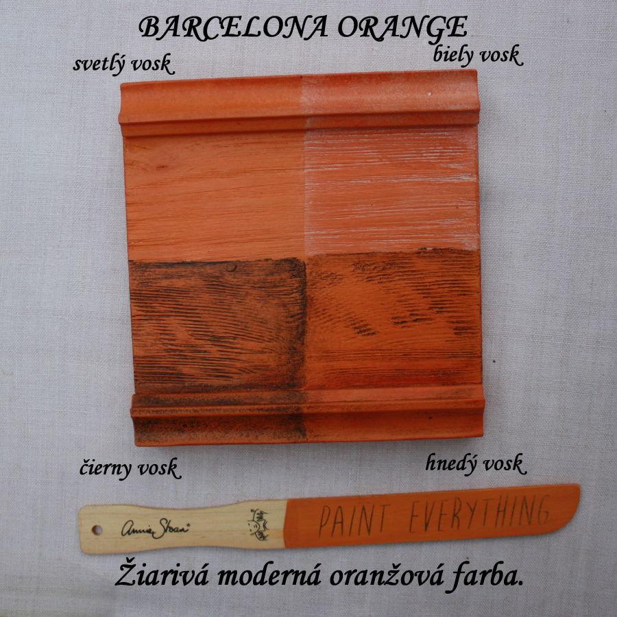 Voskovanie kriedovej farby Annie Sloan barcelona orange.