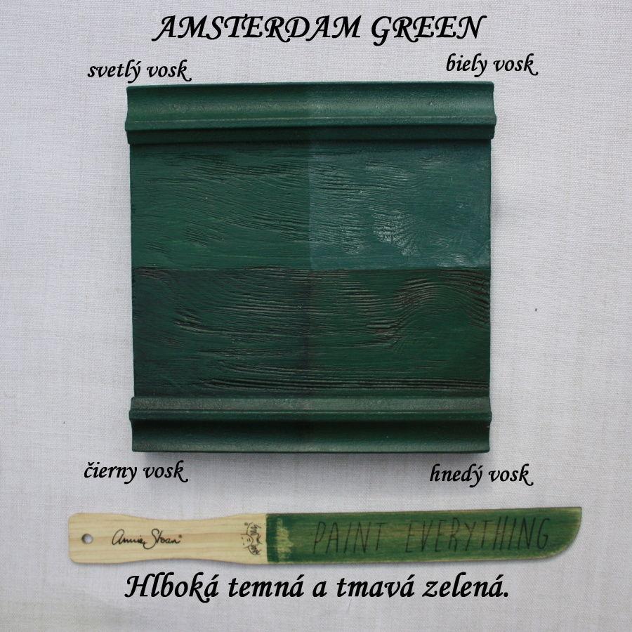 Zavoskovaná vzorka kriedovej farby Annie Sloan amsterdam green.