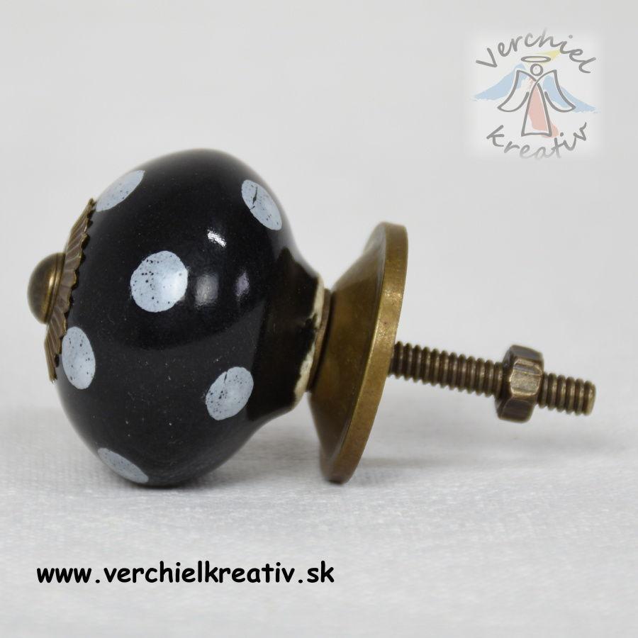 keramická úchytka čierna , biela bodka