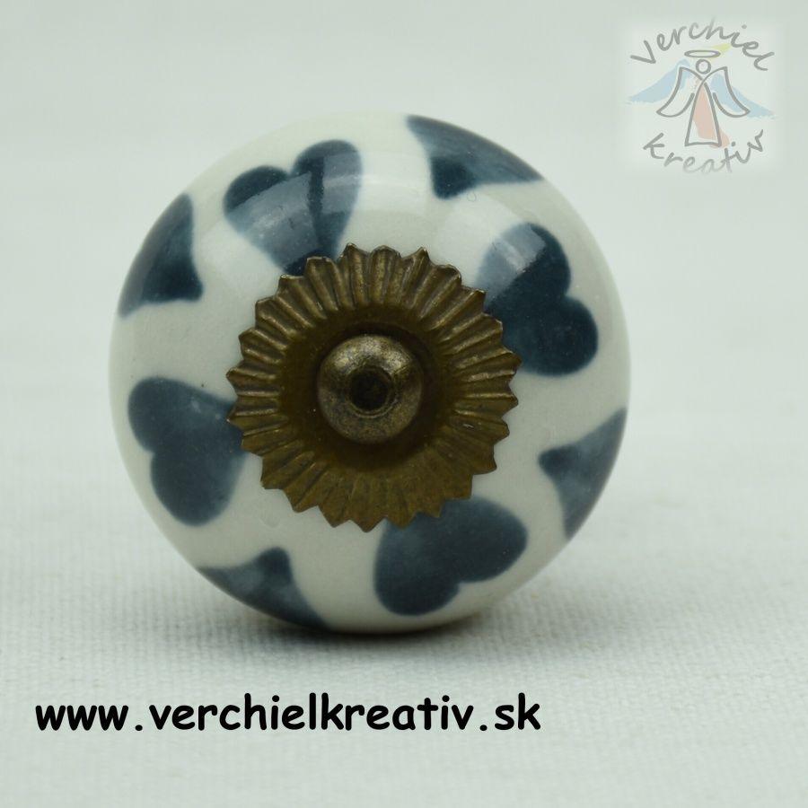 úchytka keramická šedomodré srdiečka