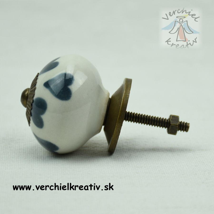úchytka guľka šedomodré srdiečka