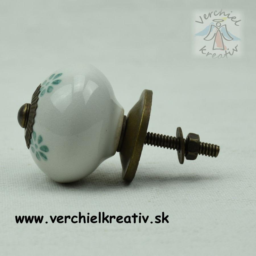 keramická úchytka biela kvietok