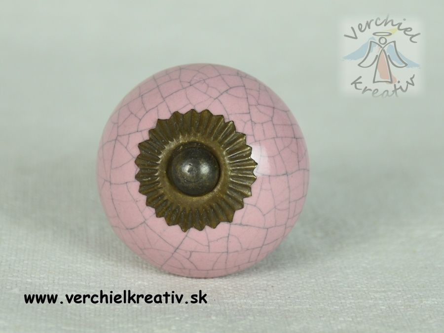 keramická úchytka ružová