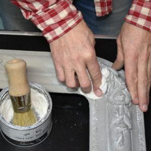 rám zrkadla renovácia stieranie vosku